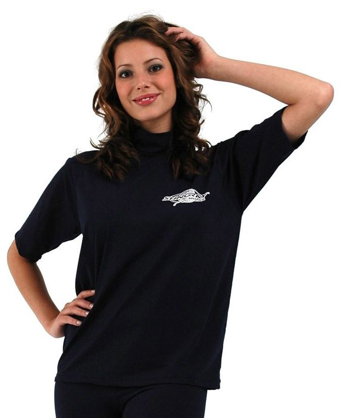If you want a comfotable plus size ladies swim shirt, this rash guard fits the bill.