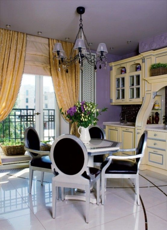 Traditional And Art-Deco Apartment With Lilac And Plum Violet Interior   DigsDigs