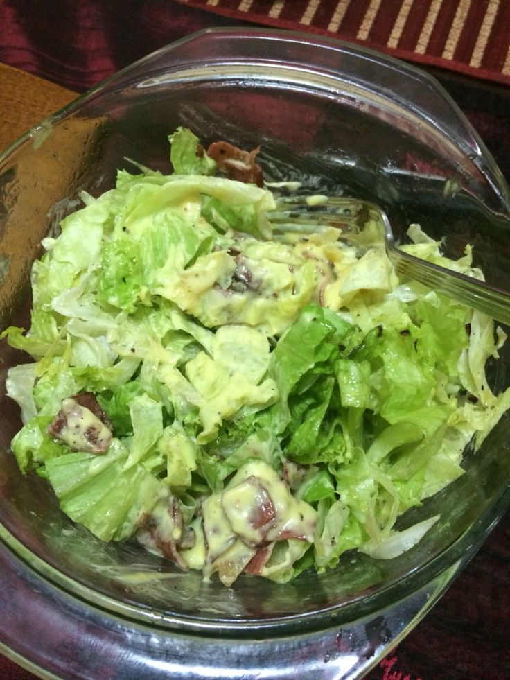 Home made bacon salad with olive oil and special dressing