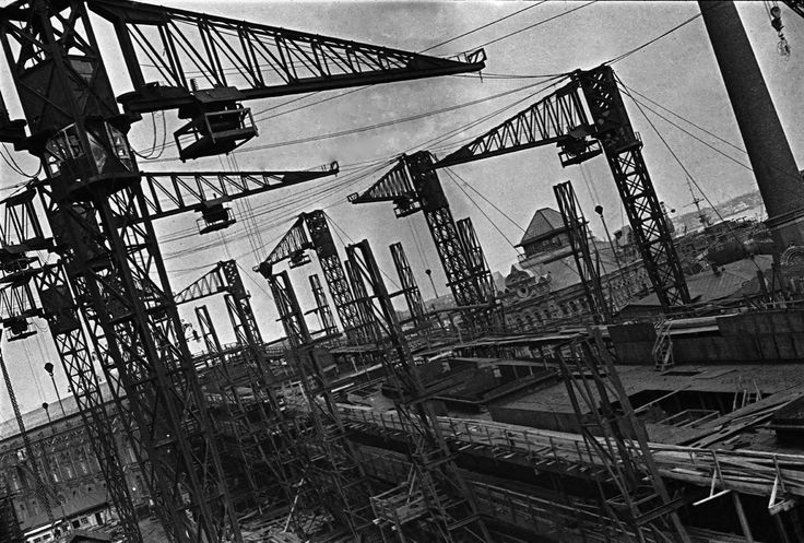 """The building berths of the Baltic Factory shipyard, 1931. From a series of photos of Leningrad from the air, taken for the magazine """"USSR in Construction"""". Russia"""