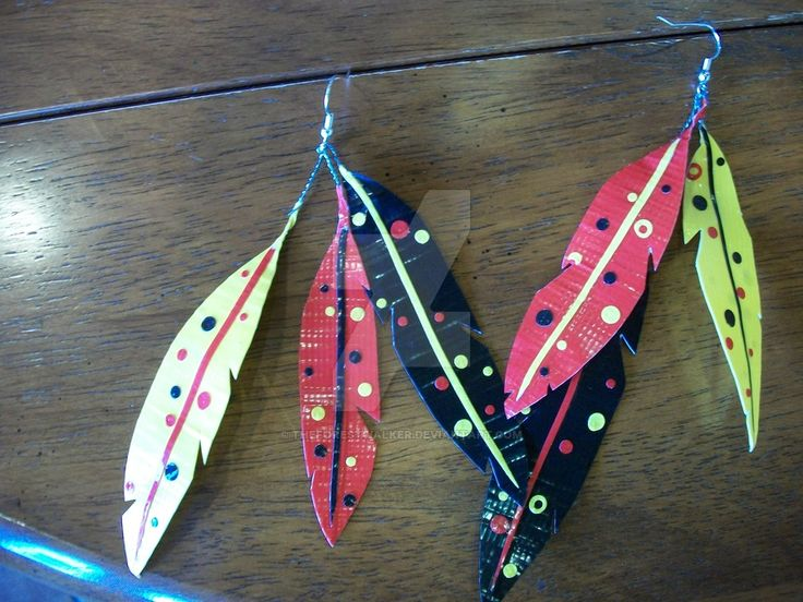 Duct tape feather earrings by theforestwalker