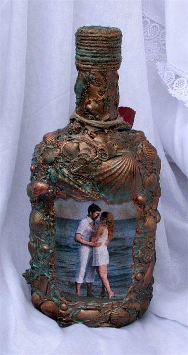 """Декупаж свадебной бутылки """"Из глубины моря"""""""