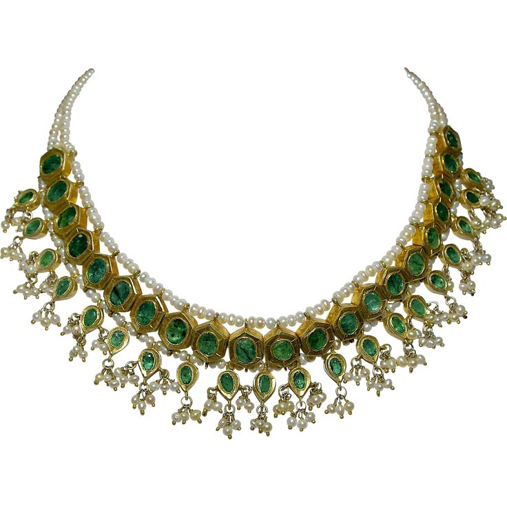A Restored Antique Indian Mughal Emerald & Seed Pearl Necklace