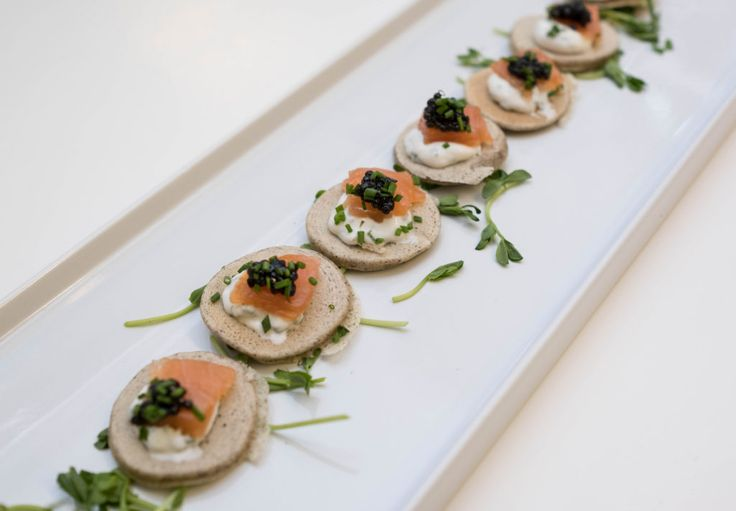 Cured Salmon with Caviar on a Blini