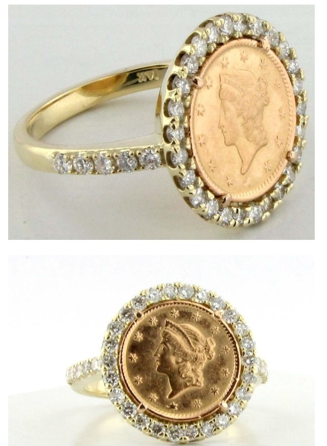 My custom diamond gold coin ring. Made with my Grandfather's gold coin.