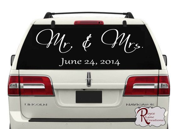 Mr. & Mrs. Just Married Car Decal Personalized with a Date by Royce Lane Creations on Etsy.