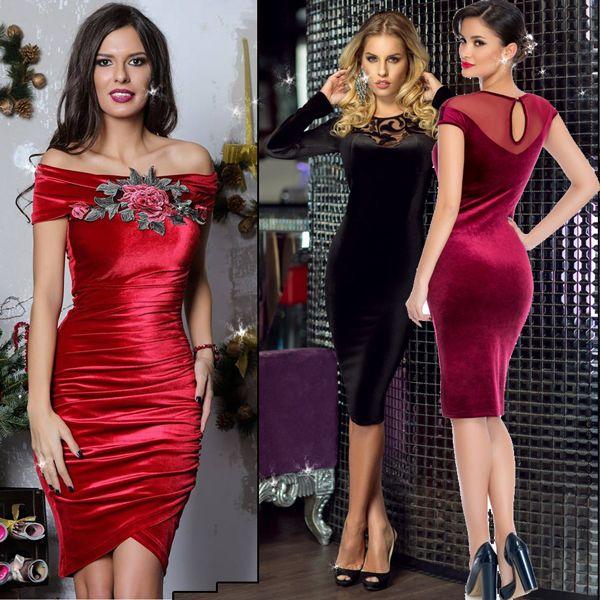 Bestsellers! Modele de rochii de revelion 2016 din catifea rosie sau neagra cu paiete