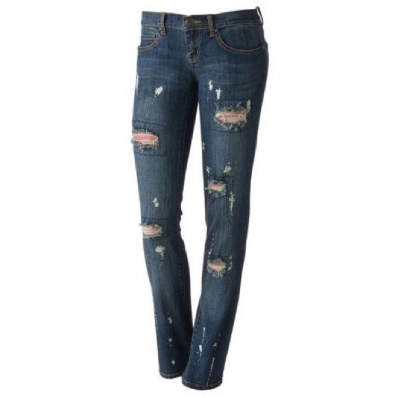 ‼️️SSale☼ Abbey Dawn | Ripped Fishnet Jeans abbey dawn by avril Lavigne Blue skinny jeans with bleach spots(came with them) and rips that have cute pink fishnets peeping through size 5. This item is preloved💖 Abbey Dawn Jeans