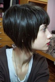 grown out pixie. I cut my hair fairly short a few months ago but I think when it grows out enough I'd like  to have straight across bangs, just to keep it unique looking :)