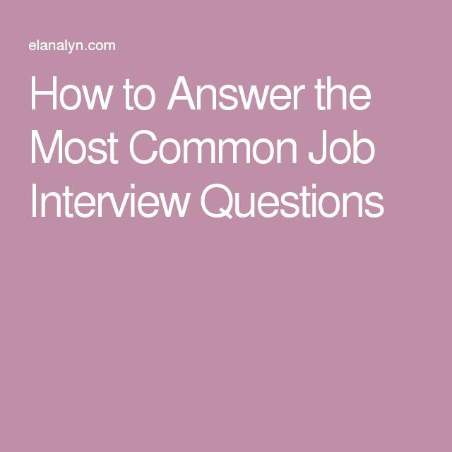 25+ unique Common job interview questions ideas on Pinterest - restaurant interview questions