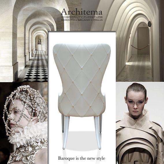 ARCHITEMA - BERGERINA DECOR dining chair in white leather and golden studs