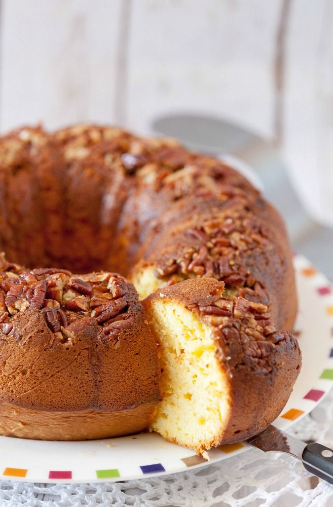 Enjoy a delicious rum cake with pecans made with less sugar and fewer calories but all the delicious flavor of a traditional rum cake.