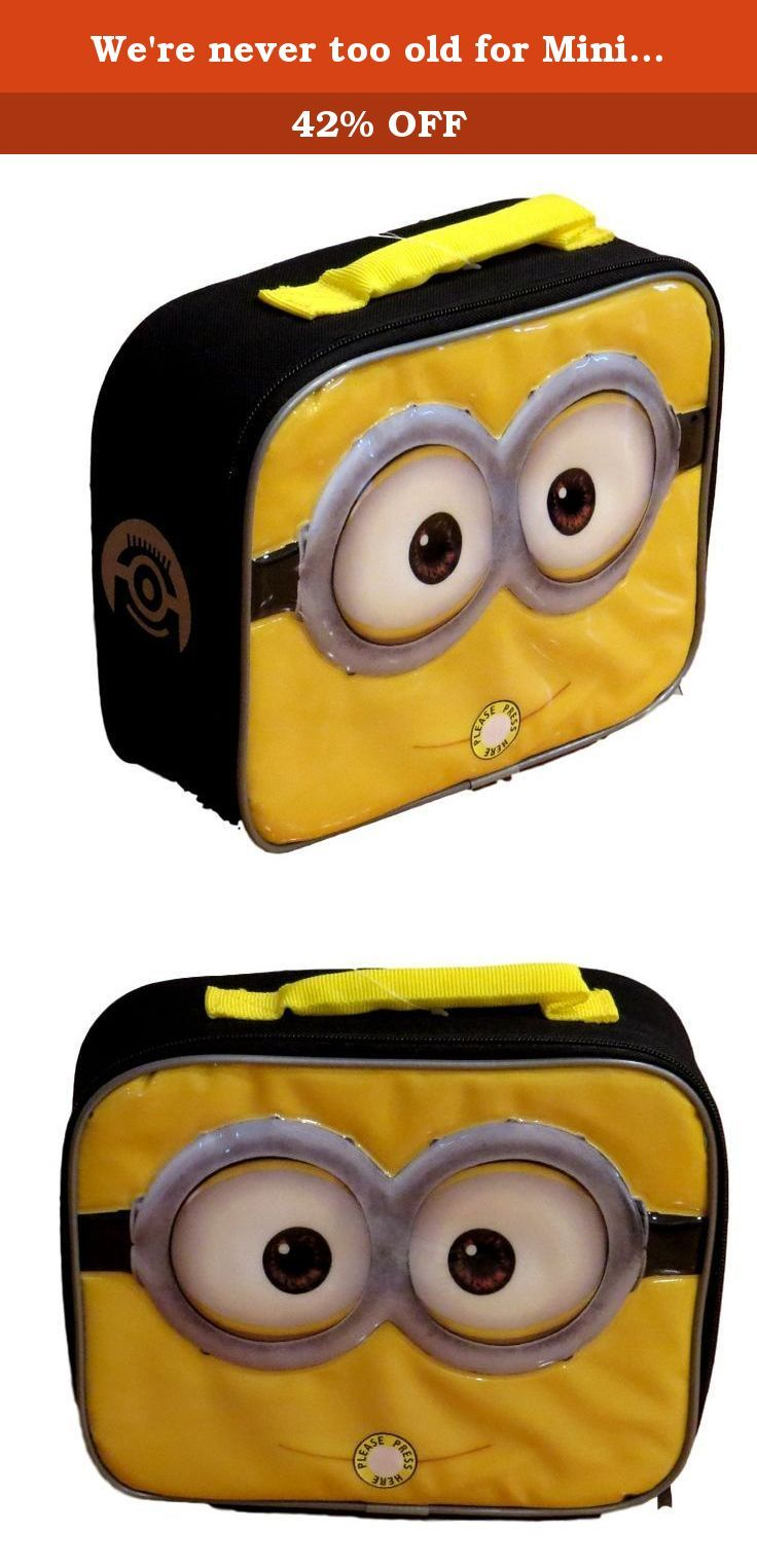 We're never too old for Minions lunch box, right?. Despicable Me Minions Movie 9.5 inch Lunch Box - Minion Face. Wipeable lining for easy cleaning. Carry handle for easy transportation, Traditional shape with generous space for lunch and snacks.