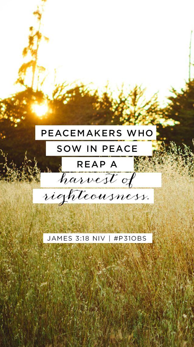 FREE Memory Verse mobile background of James 3:18 || #Ungluedbook Week 2 at Proverbs 31 Online Bible Studies.