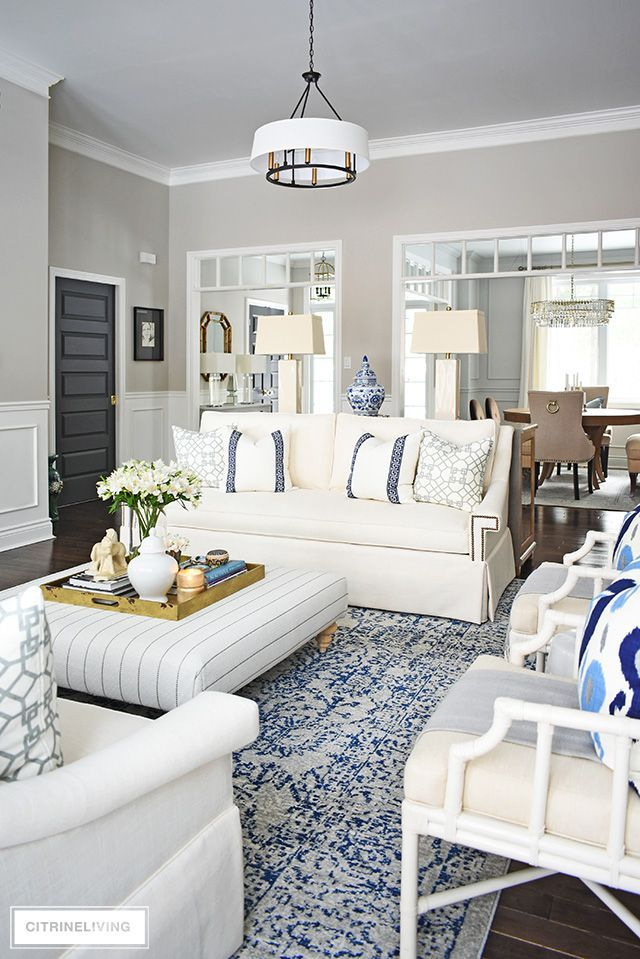 Our Living Room Reveal With New White Sofas From Perigold Living Room Sofa Design Living Room White Living Room Sofa