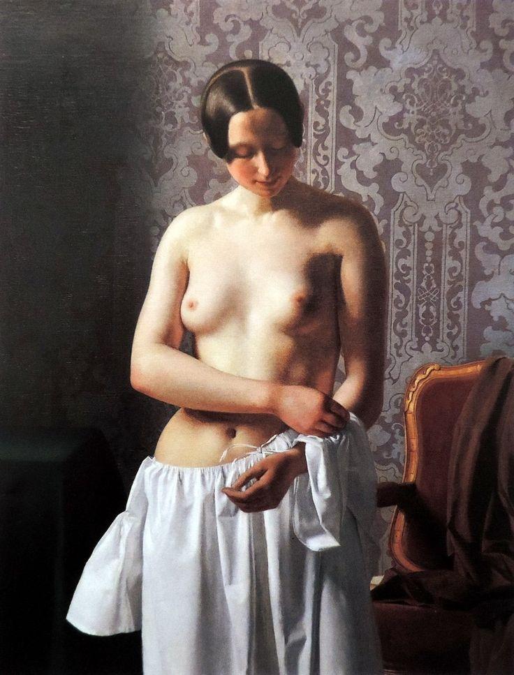 Joel Ballin (Vejle, 1822 - Copenhague, 1885) Estudio de una modelo. Joven desnudándose (1844)