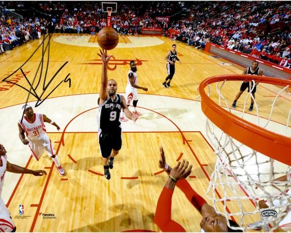 """Tony Parker San Antonio Spurs Autographed 8"""" x 10"""" Floater vs. Houston Photograph   San antonio spurs, Tony parker, San antonio"""