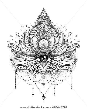 Vector ornamental Lotus flower, all-seeing eye, patterned Indian paisley. Hand…