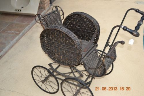 Antique-Victorian-Wicker-Baby-Stroller-Doll-Buggy-Carriage-Kelly-Brothers