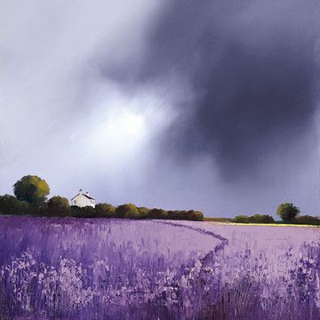 Barry Hilton- Textures of Indigo, Barry's use of intense colours and bold textural contrasts helps create these dramatic landscapes which express emotion and atmosphere. I just love the use of colour for the sky.