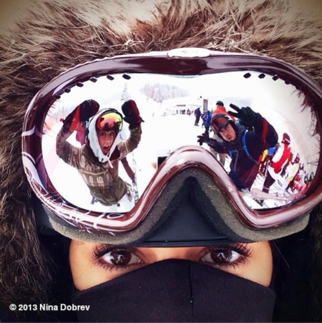 creative selfie ..Nina Dobrev  with Julianne and Derek Hough