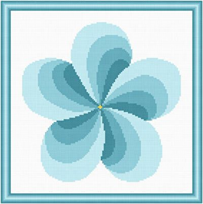 Twirl Around Turquoise - cross stitch pattern designed by Susan Saltzgiver. Category: Arts.