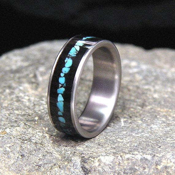 Gabon Ebony Wood Sleeping Beauty Turquoise Inlay Titanium