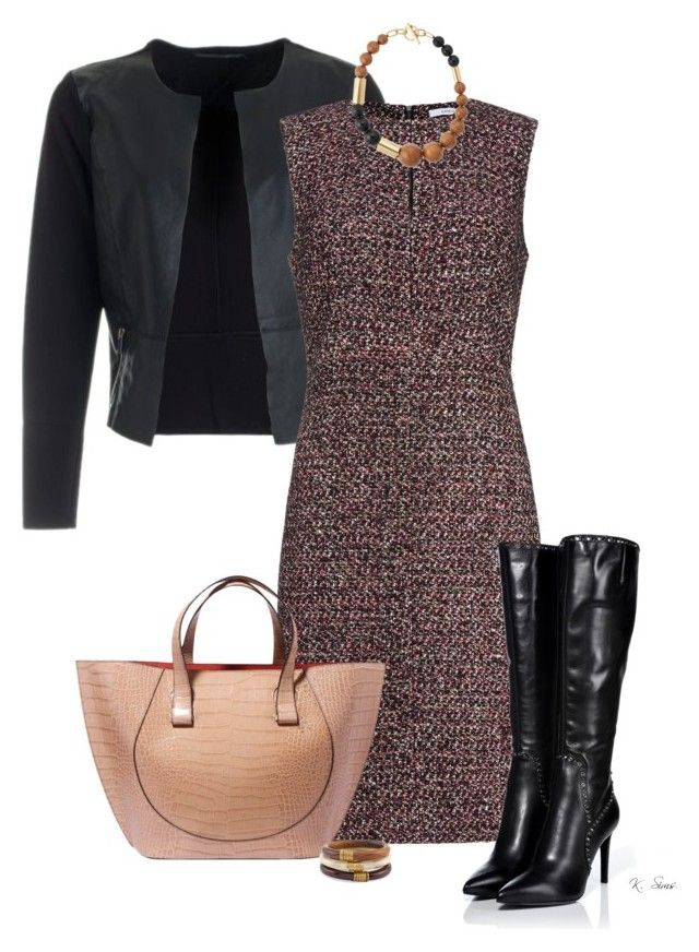 """""""Tweed & Boots"""" by ksims-1 ❤ liked on Polyvore featuring Diane Von Furstenberg, Sergio Rossi, Victoria Beckham, Michael Kors and Chico's"""