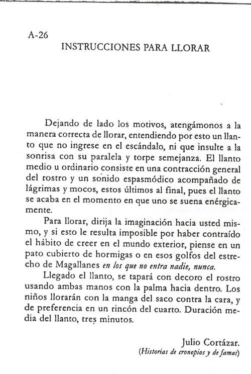 Instrucciones para llorar. Julio Cortázar