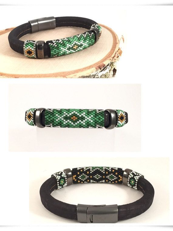 The Green Clover peyote bead woven bangle has an inspiring alluring color of greenery that is around us. The design has 3 shades of green with
