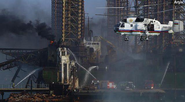 La Compañía Estatal Petrolera de Azerbaiyán (SOCAR), informó sobre 30 desaparecidos tras incendio en plataforma petrolera Gunesli en Mar Caspio.
