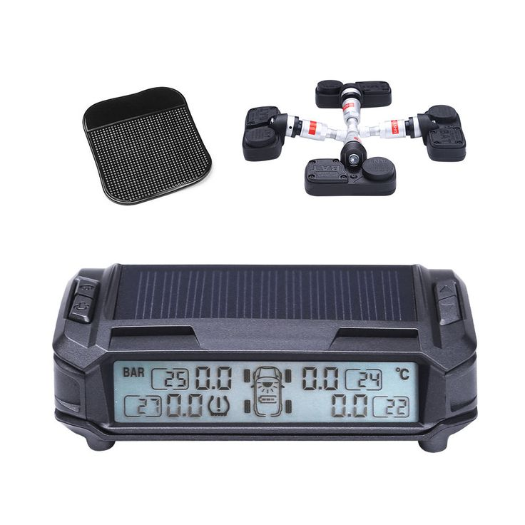 Wireless Solar Powered Auto Car Tire Pressure Monitor System TPMS with 4 Sensors #Lumsing