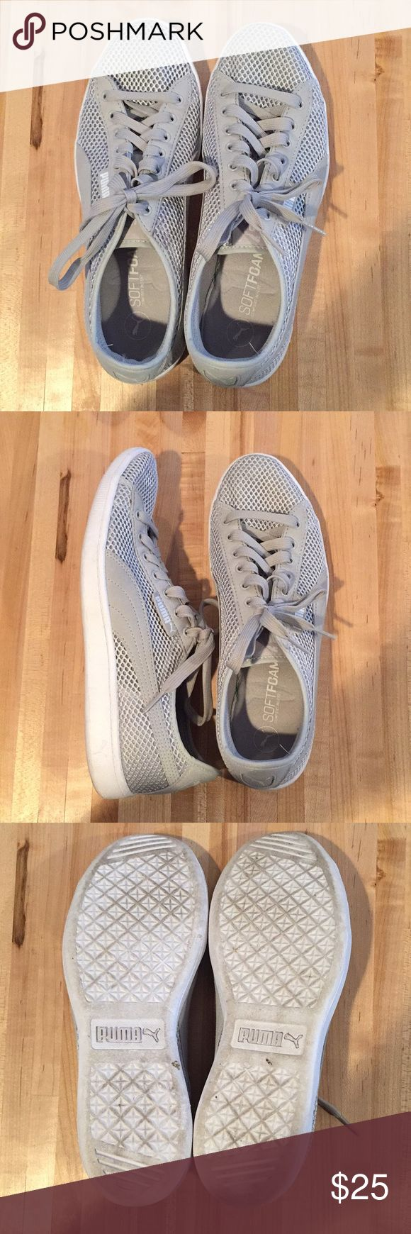 Puma - gray casual tennis shoes Gray Puma tennis shoes Cute with every outfit Soft foam insoles for great comfort Puma Shoes Sneakers