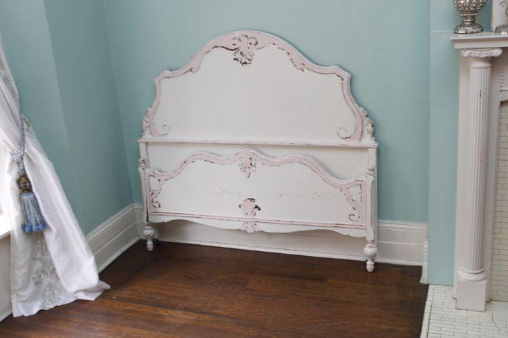 custom order antique full bed frame shabby chic distressed pink white vintage double cottage girls bedroom by VintageChicFurniture on Etsy https://www.etsy.com/listing/210254994/custom-order-antique-full-bed-frame