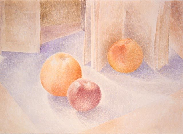 Lionel LeMoine FitzGerald - Three Apples and an Open Book