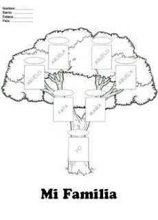 Fichas Infantiles: Árbol genealógico para colorear                                                                                                                                                                                 Más