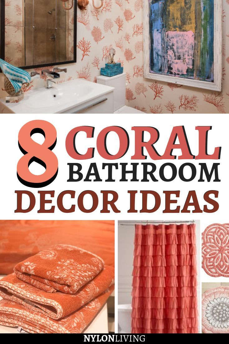 Refresh Your Bed And Bath With Everyone S New Fave Coral Peach Color Coral Bathroom Decor Coral Bathroom Bathroom Colors