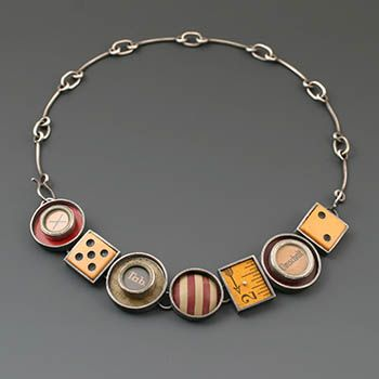 Kristi Zevenbergen: 'Space to Change', Convertable bracelet and necklace in sterling silver and found objects.
