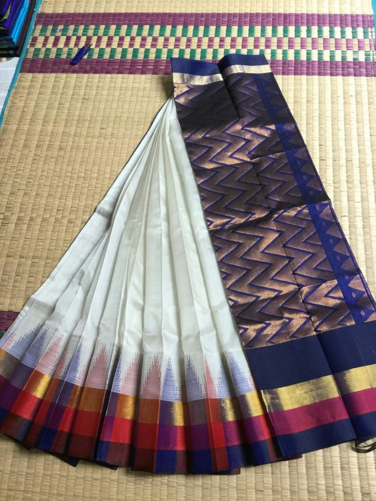 ☀ Korvai  ☀ Long Temple Borders Handloom Silk Cotton Sarees    Borders Silk   Rs. 5499+$ Order what's app 7093235052