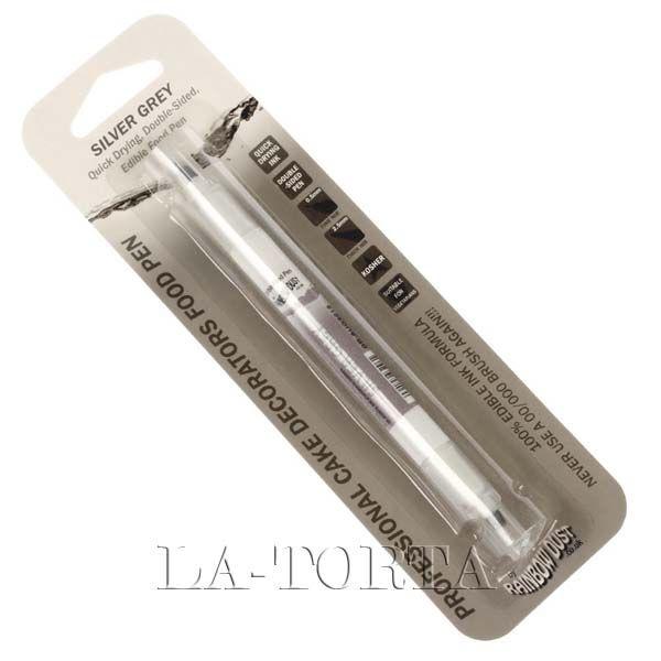Карандаш двухсторонний Rainbow Серебристо-серый  Двухсторонний карандаш Rainbow- это высококачественный фломастер для нанесения мелких деталей, а также надписей на готовые кондитерские изделия. Карандаш имеет два стержня разной толщины - 0,5мм и 2,5мм. Фломастеры можно использовать на любой съедобной поверхности - мастика, шоколад, желе, марципан и т.д.!  Характеристики: Объем - 2 мл Страна-производитель - Великобритания…