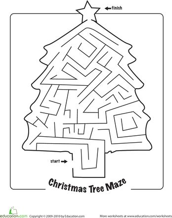 Worksheets: Christmas Maze printable BSOS