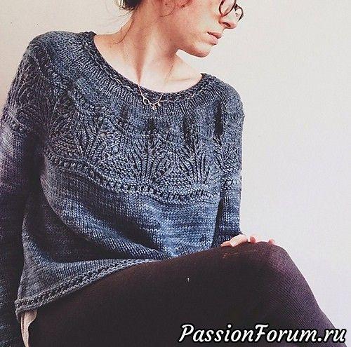 Пуловер без швов с круглой ажурной кокеткой спицами - запись пользователя Лисик (Светлана) в сообществе Вязание спицами в категории Вязание для женщин спицами. Схемы вязания спицами