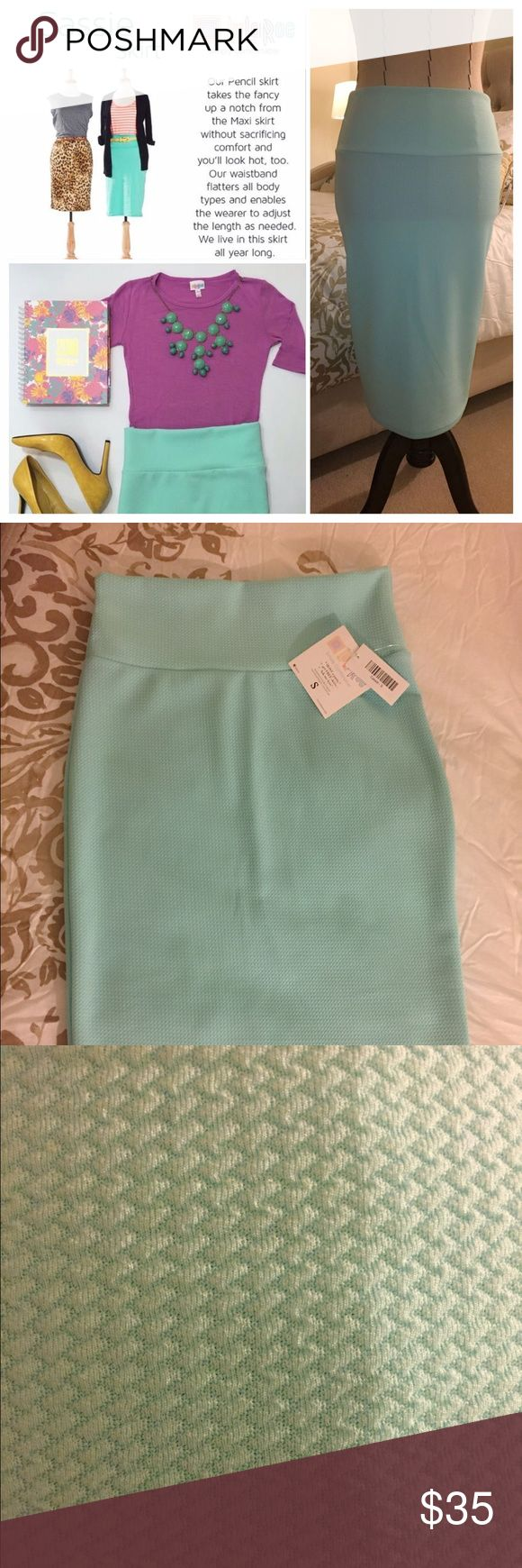 NWT - LulaRoe Cassie Skirt NWT - LulaRoe Cassie Skirt. Maxi pencil skirt with waistband. Waistband allows you to adjust the length as needed. It can also be worn as an infinity scarf, tube top tunic and a high waisted skirt. Color: Mint green. No defects. LuLaRoe Skirts Maxi