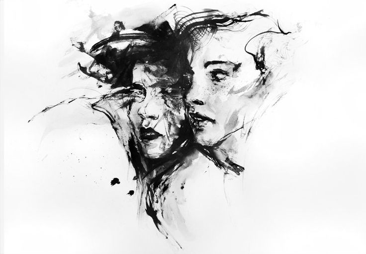sisters. watercolor by agnes-cecile