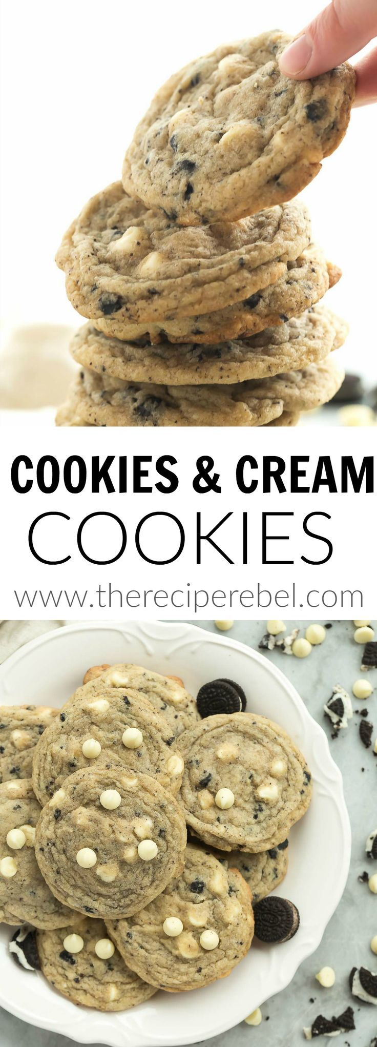 These Cookies 'n' Cream Cookies are loaded with chopped Oreos and white chocolate chips — just like the chocolate bars! They are perfectly soft and chewy!