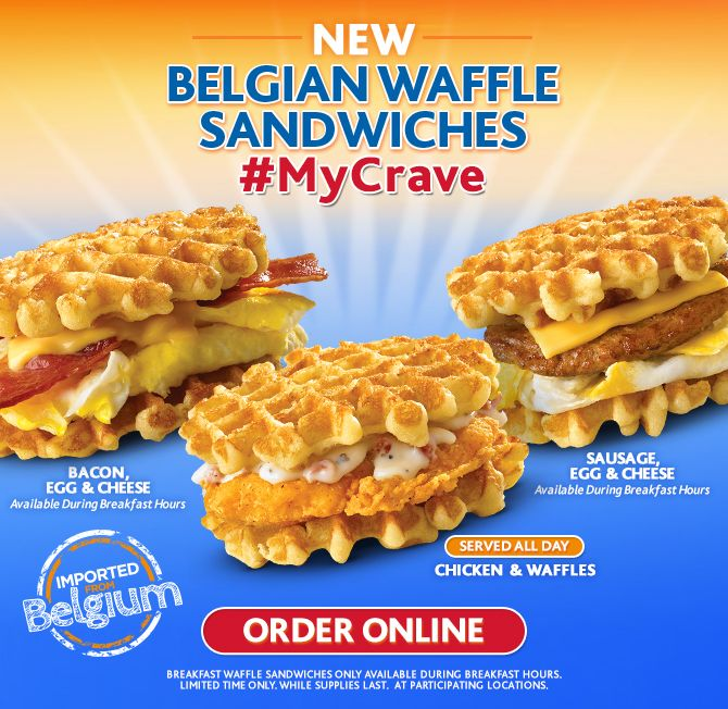 White Castle chicken and waffle sandwich