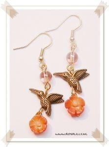 Vintage oorbellen Kolibrie