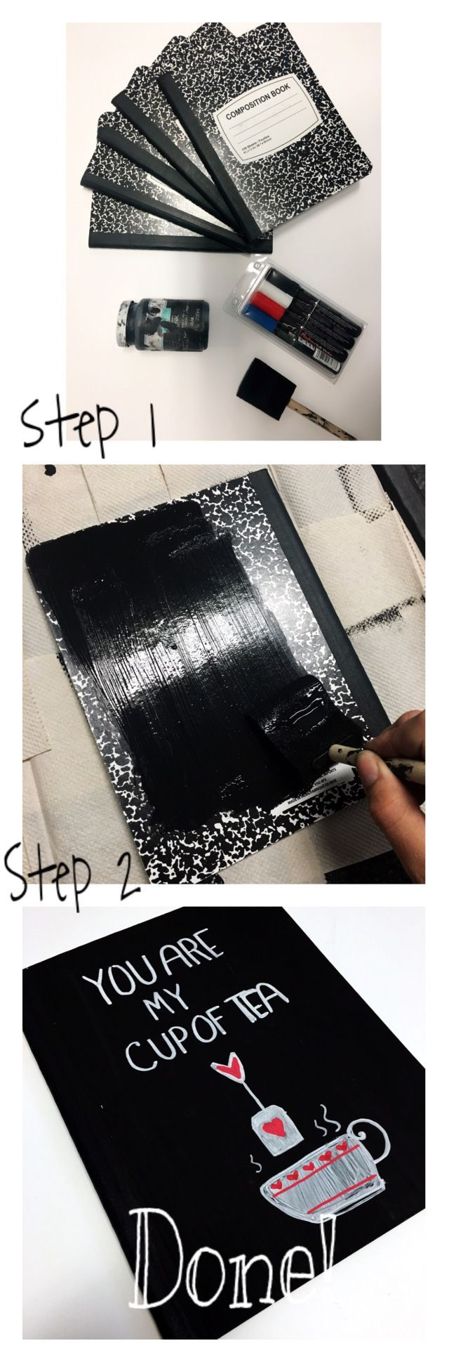 Cheap ways to decorate your notebooks for school! #chalkboard paint