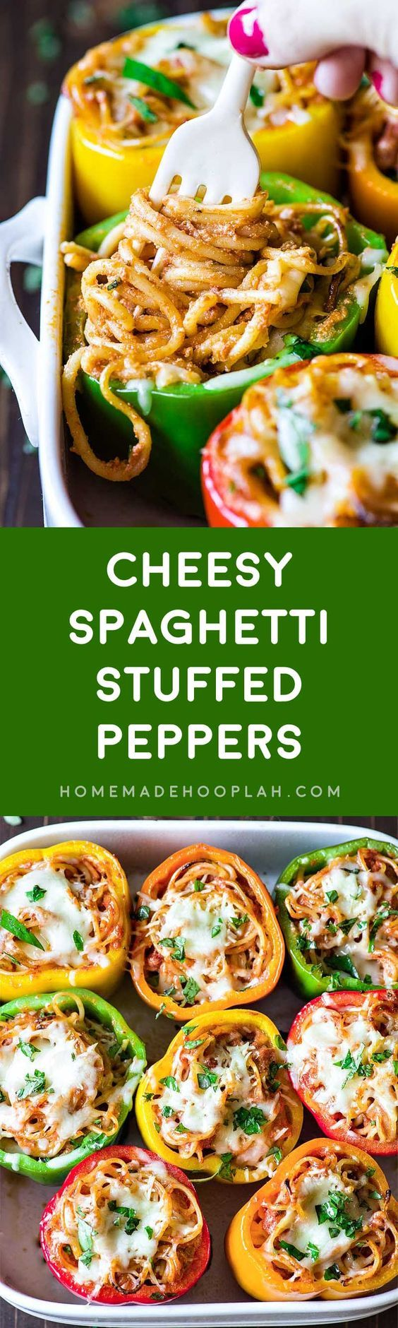 Cheesy Spaghetti Stuffed Peppers! Tender Italian stuffed peppers filled with spaghetti, ricotta, parmesan, and Ragu Homestyle Thick and Hearty Four Cheese Sauce. | HomemadeHooplah.com #AD #SimmeredinTradition
