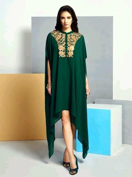 Partywear Dark Green Kaaftan Style Georgette Kurti #kurtis&kurtas #designer kurtis available at ladyindia.com